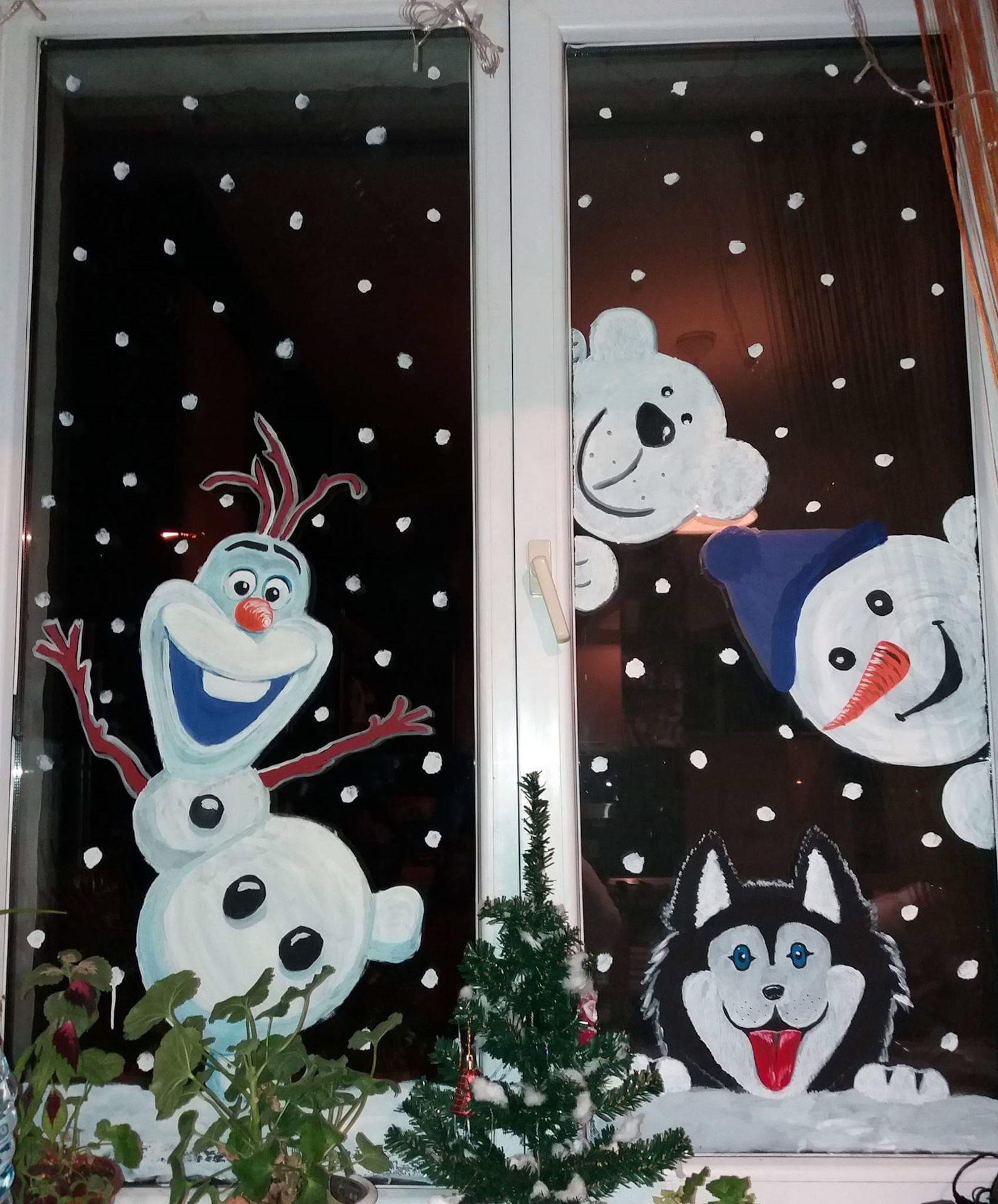 новогодние картинки красками на окна губернатора также будет