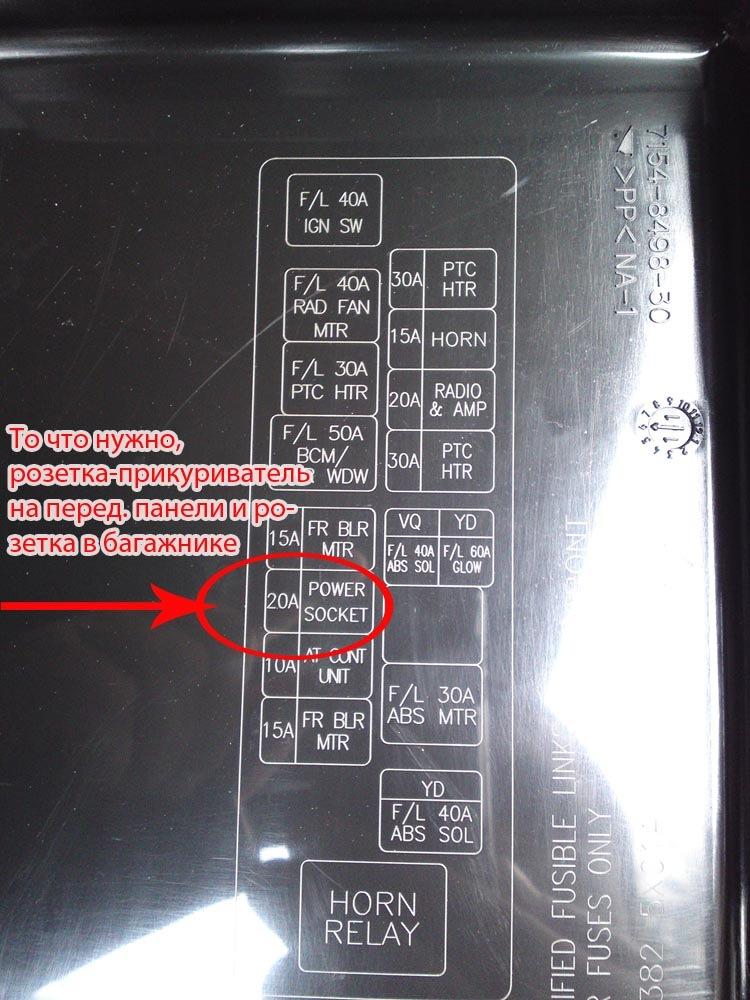 Схема предохранителей nissan pathfinder фото 830
