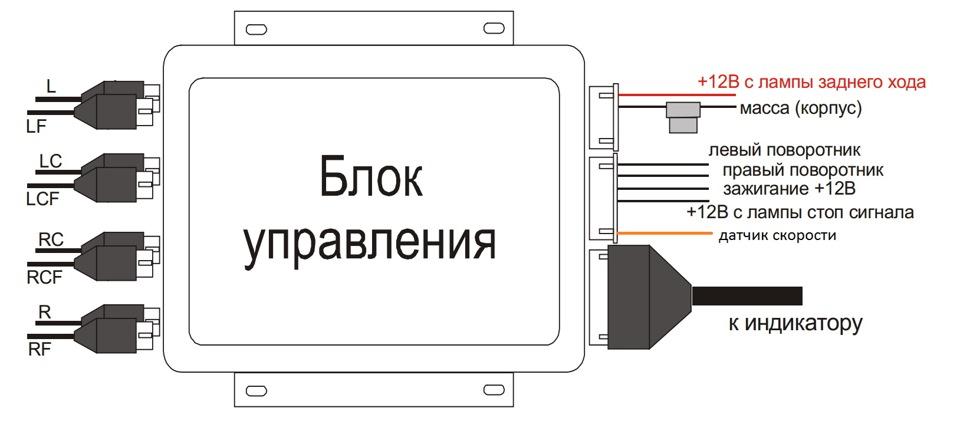 Схема подключения парктроника