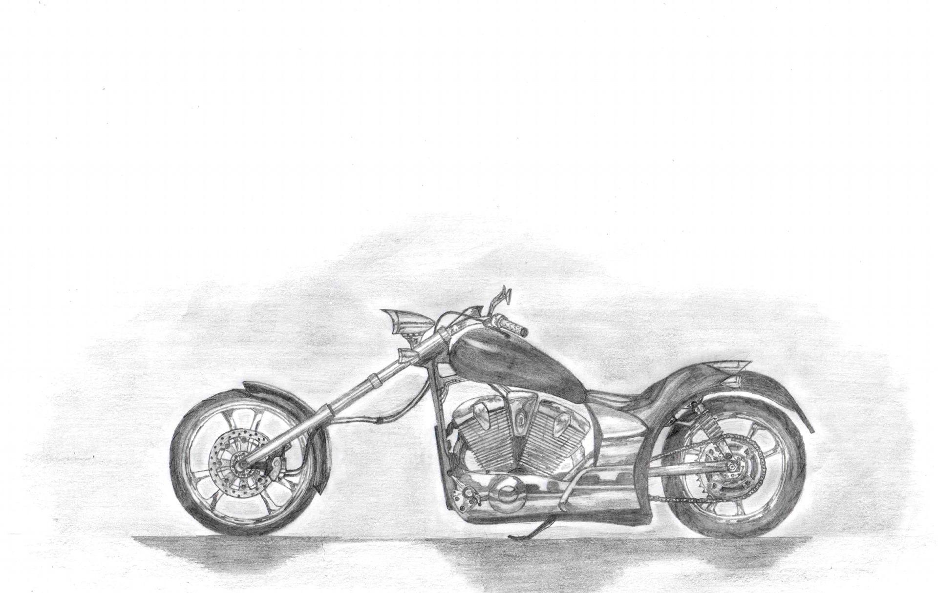 Крутые рисунки мотоциклов карандашом
