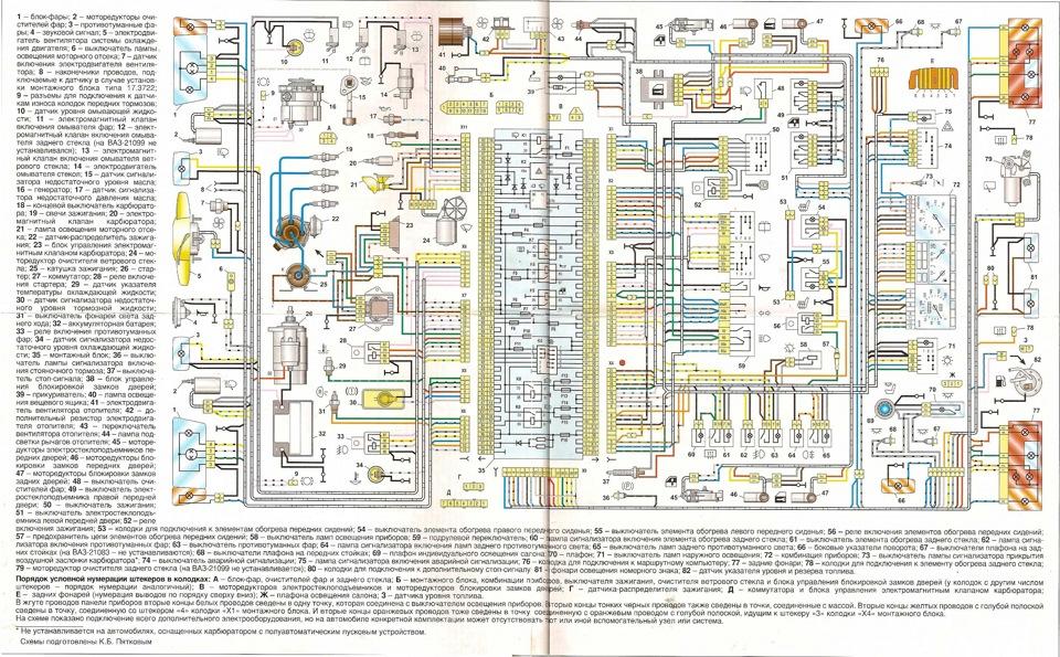 Схема проводки ваз 2109