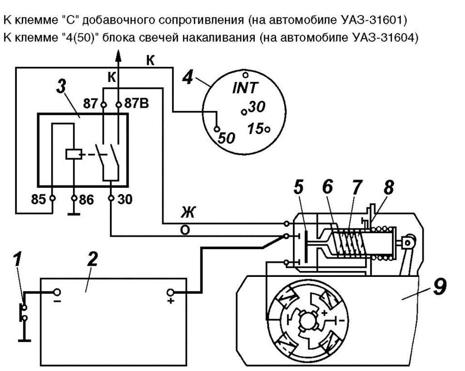 Схема подключения стартера уаз 469
