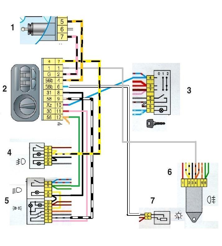 Электрическая схема газель свет фар