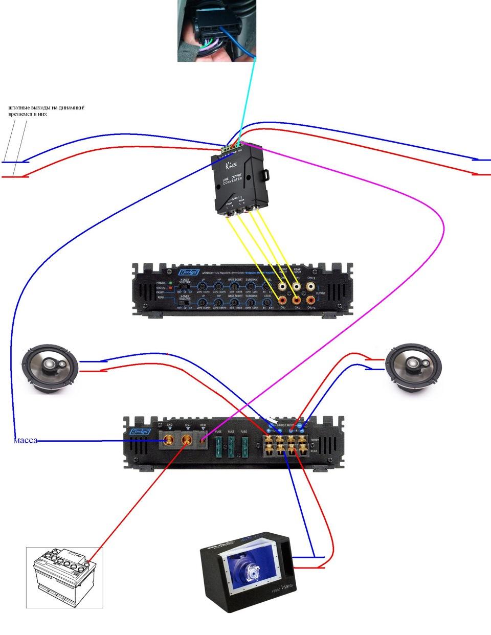 Схема подключения 4х колонок сабвуфера