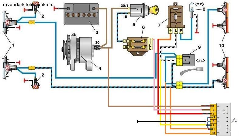 Электрическая схема аварийной сигнализации 420