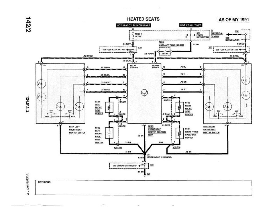 Схема подогрев w124 рестайл
