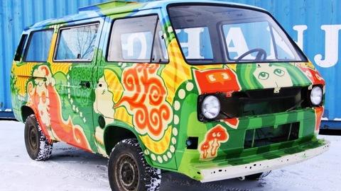 Volkswagen Transporter Hippie-van!  En la furgoneta!