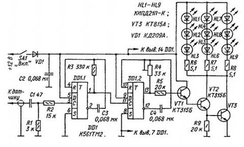 Images for схема автомобильного вольтметра на светодиодах.