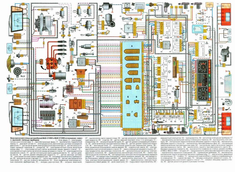 Схема электрооборудования ваз 21099 высокая панель фото 410