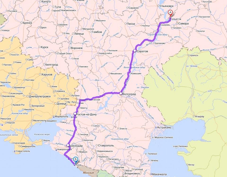 карта пробега: Тольятти