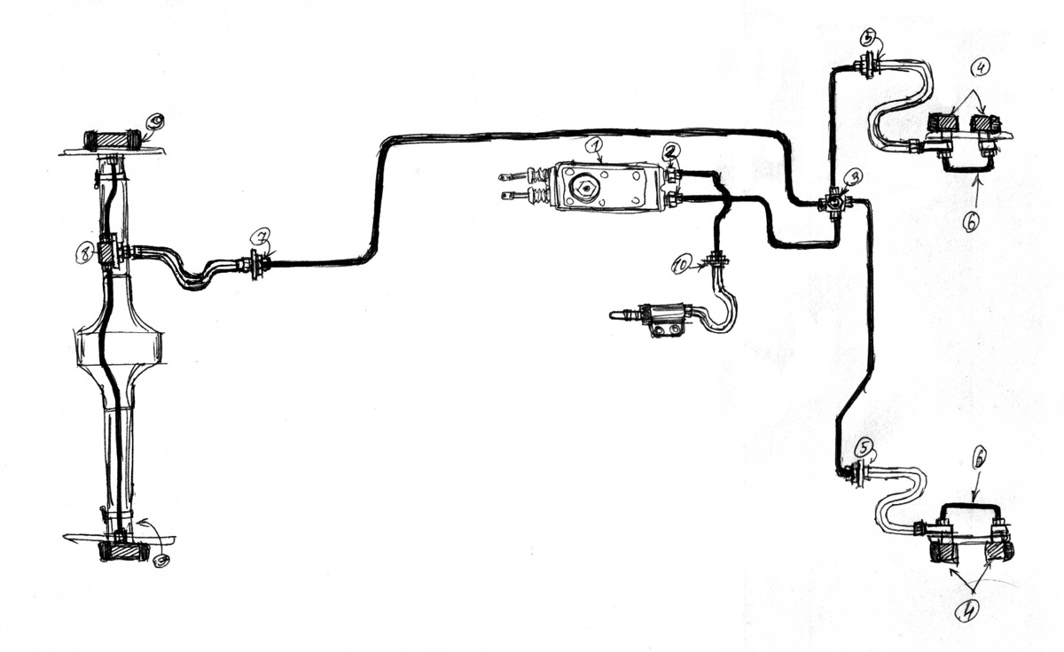 Нигде в инете не нашёл готовой схемы тормозов ГАЗ-21, где были бы чётко показаны её элементы, только очень условные...