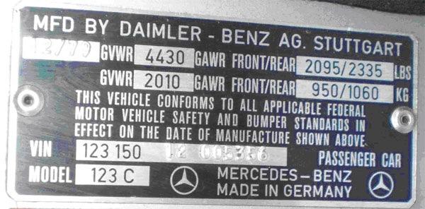 Vin mercedes benz e class for Mercedes benz vin number