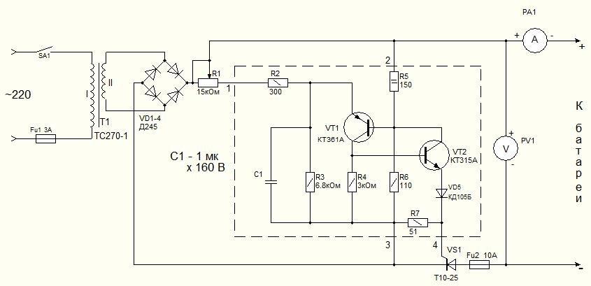 Зарядное устройство для аккумулятора 12в схема
