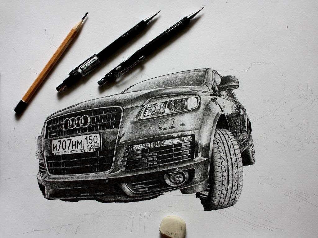 Нарисованные машины карандашом фото