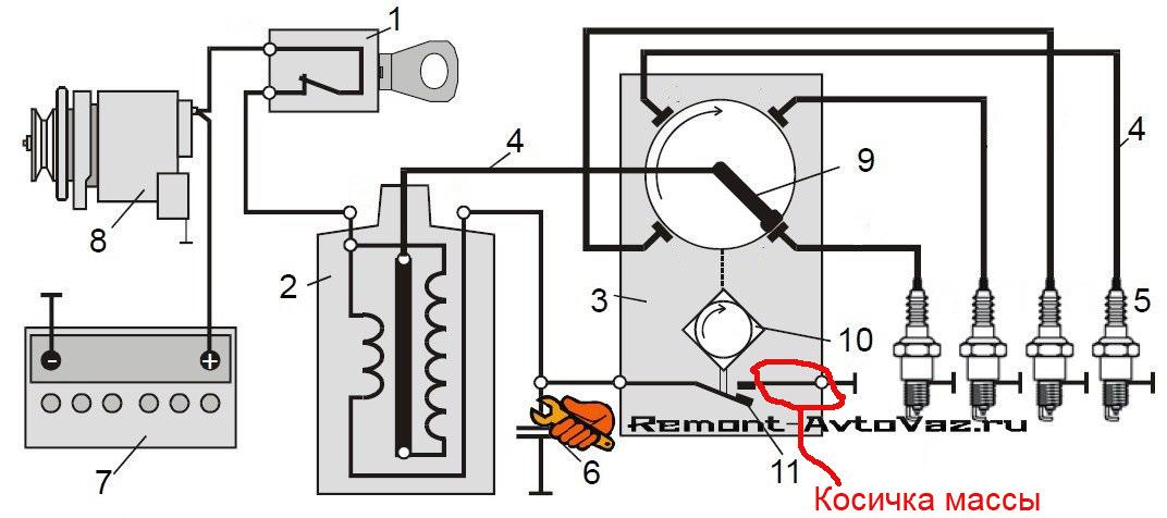 Схема подключения трамблера с конденсатором