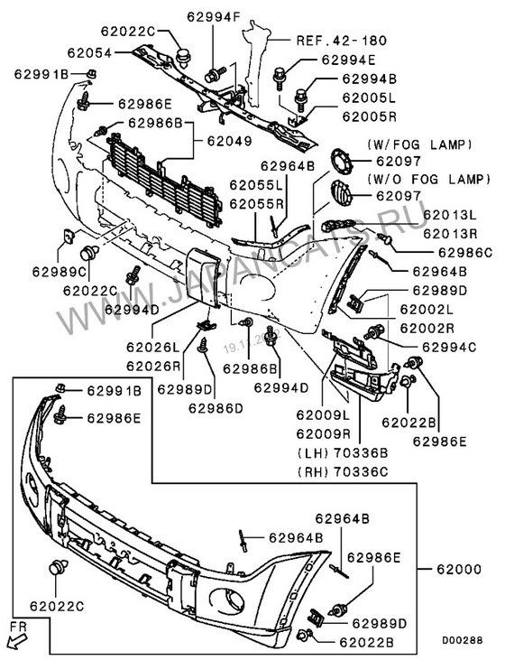 Бампер паджеро 4 схема