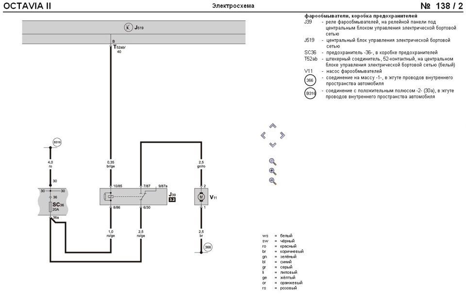Схема подключения омывателя
