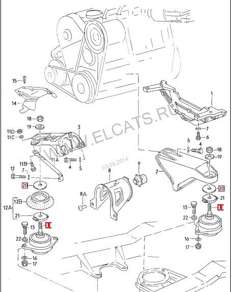 схема подвески двигателя