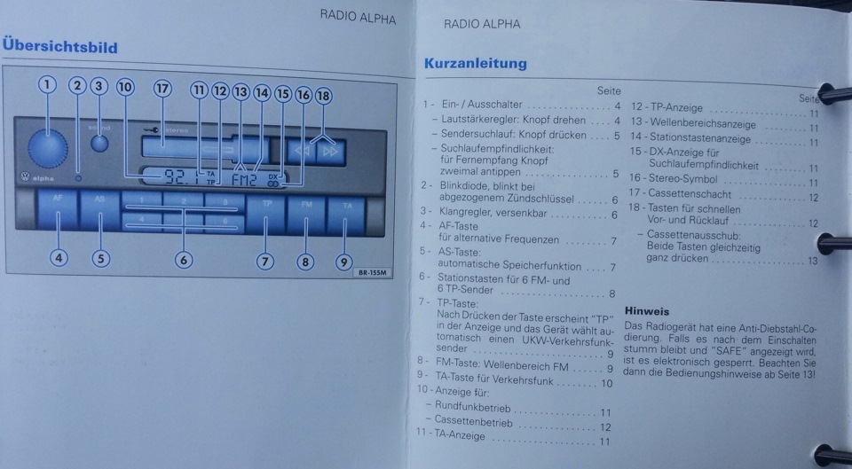 фольксваген гольф 2001 магнитола alpha инструкция