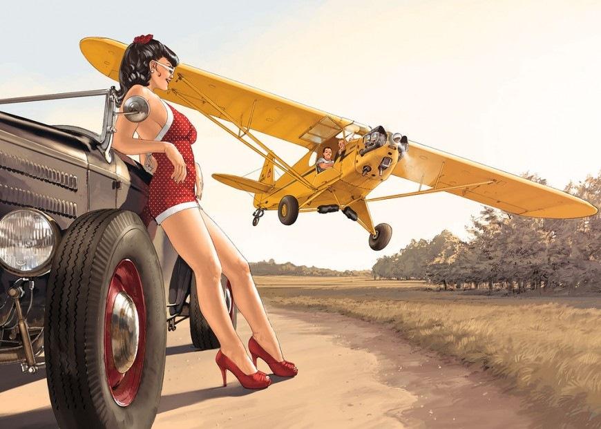 Женщина девушки и самолеты пин ап сосет