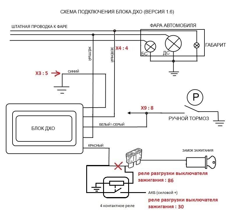 Схема включения ходовых огней на авто