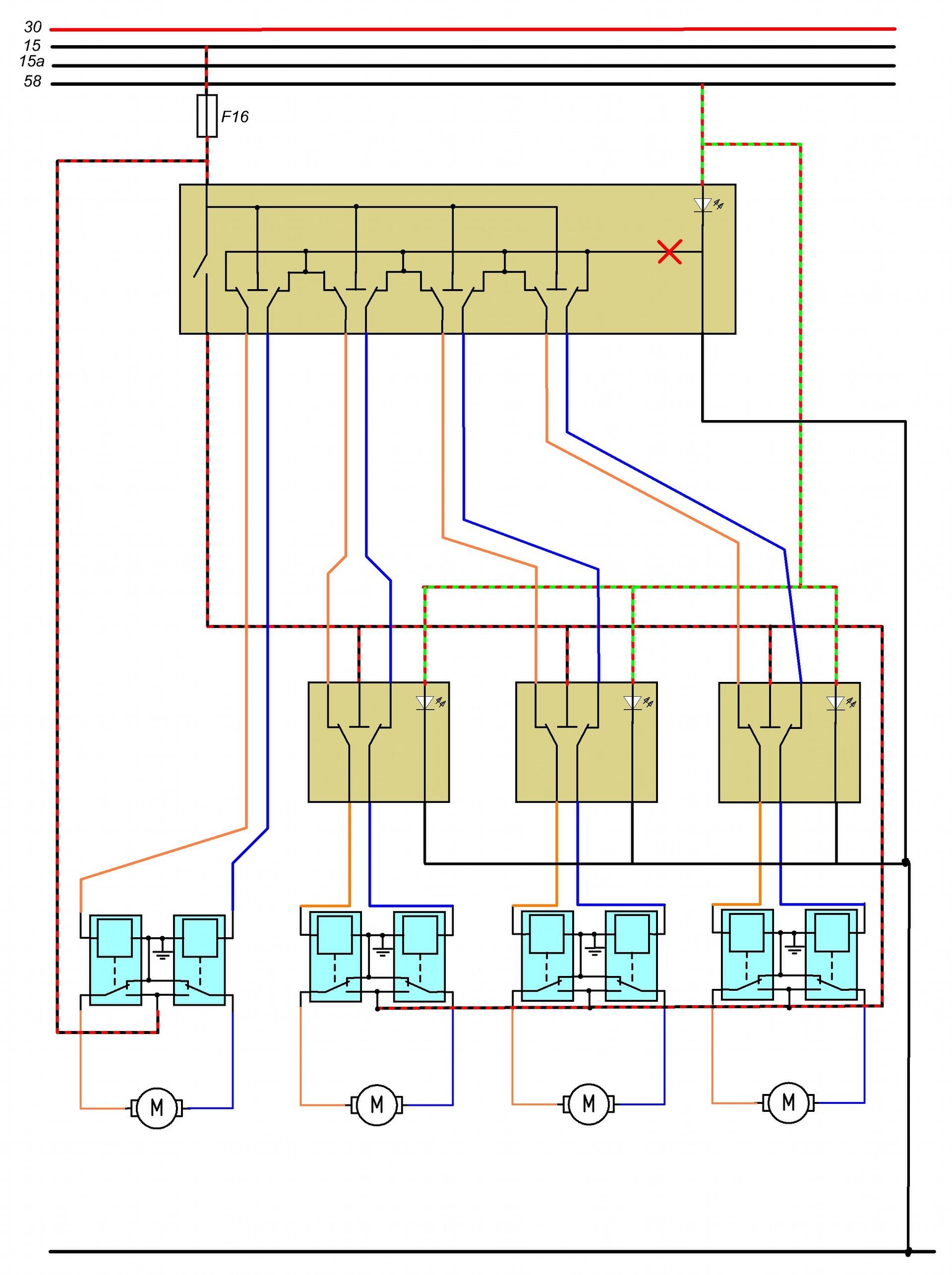 схема подключения кнопки для стеклоподъемников