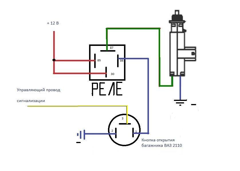 Схема подключения электропривода багажника на ваз 2115