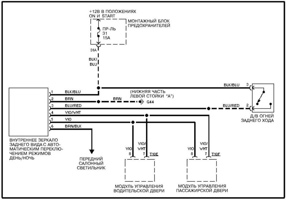 Схема подключения зеркала Ауди