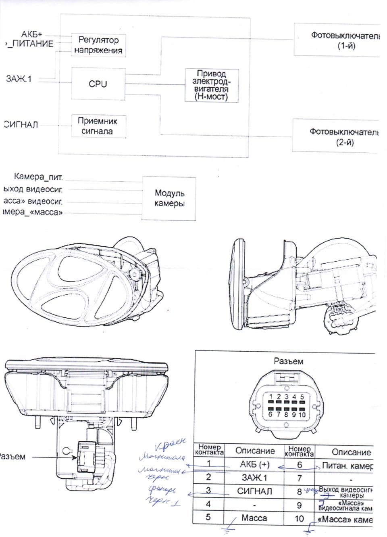 схема подключения зеркала и камеры заднего вида