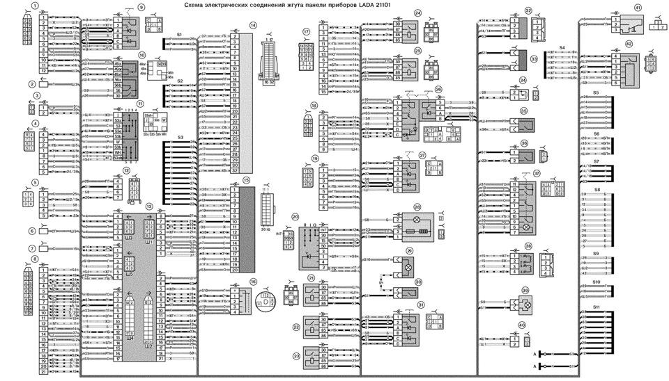 Схема жгутов панели приборов