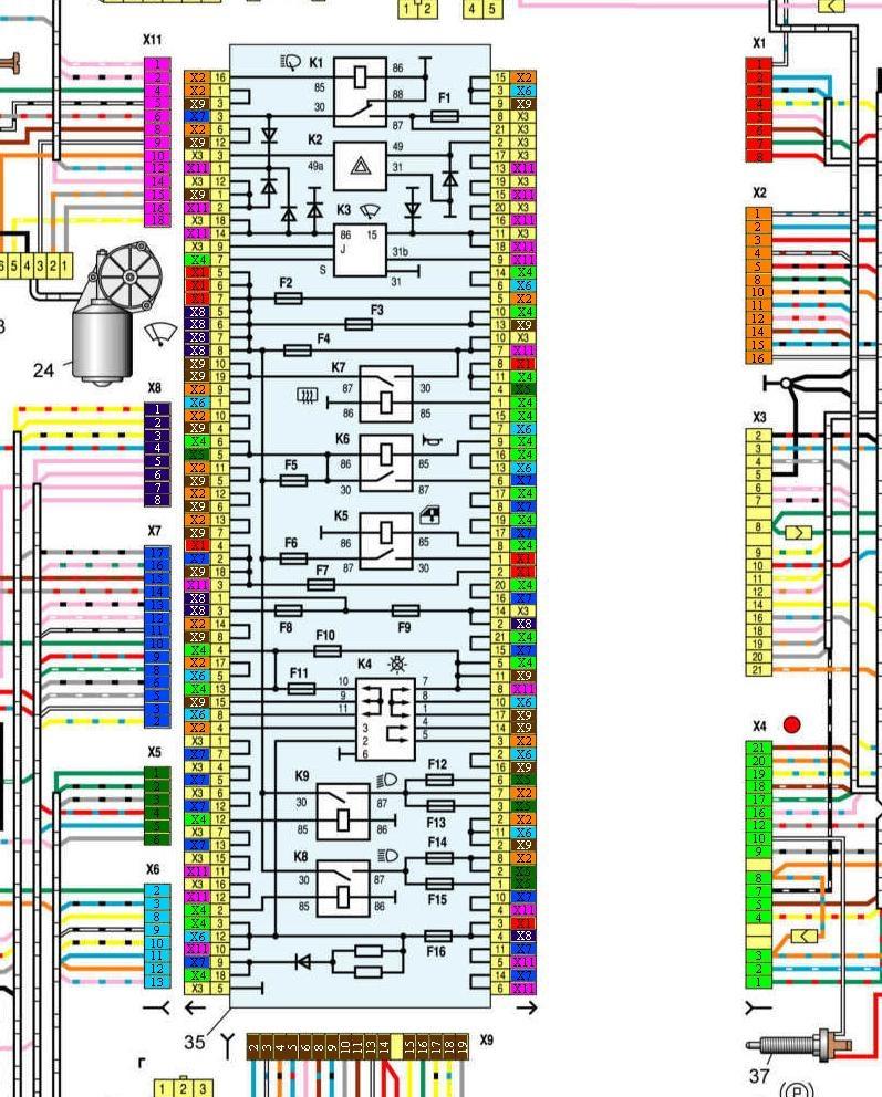 Электрическая схема ваз 21099 карбюратор высокая панель монтажный блок
