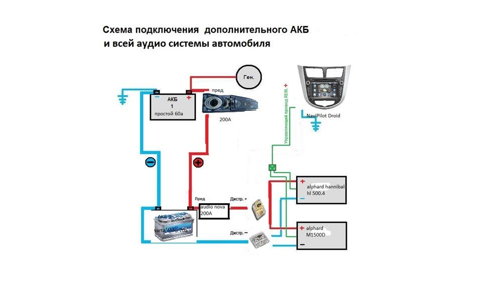Схема подключения второго АКБ