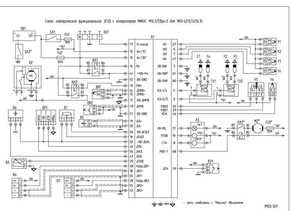 Схемы блоков управления двигателем микас 7.1