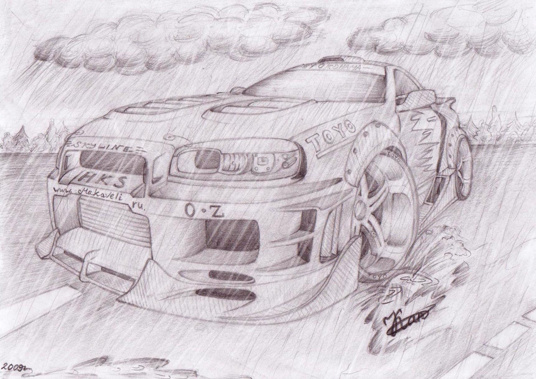 рисунки машины карандашом: