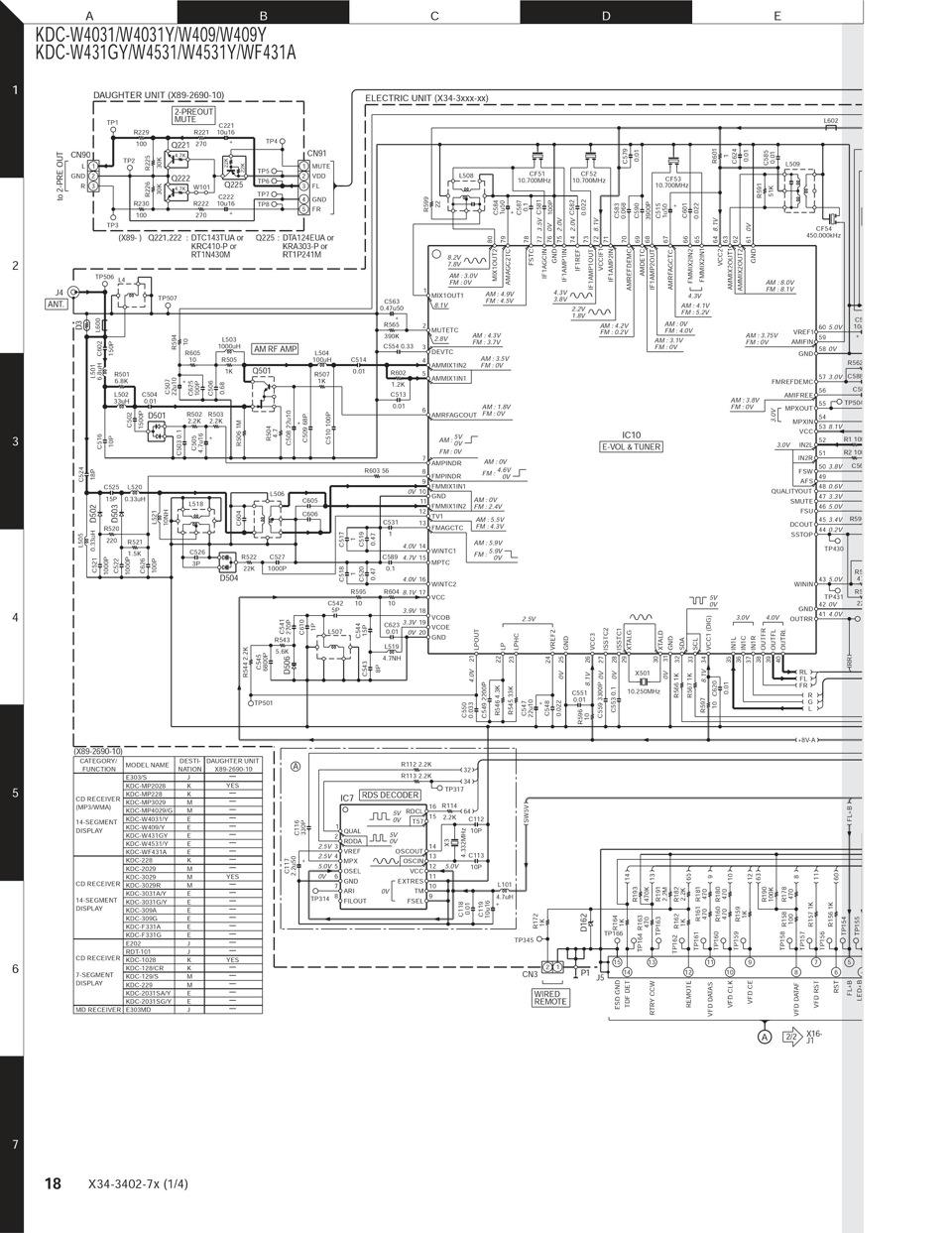 kenwood kdc w4034 схема