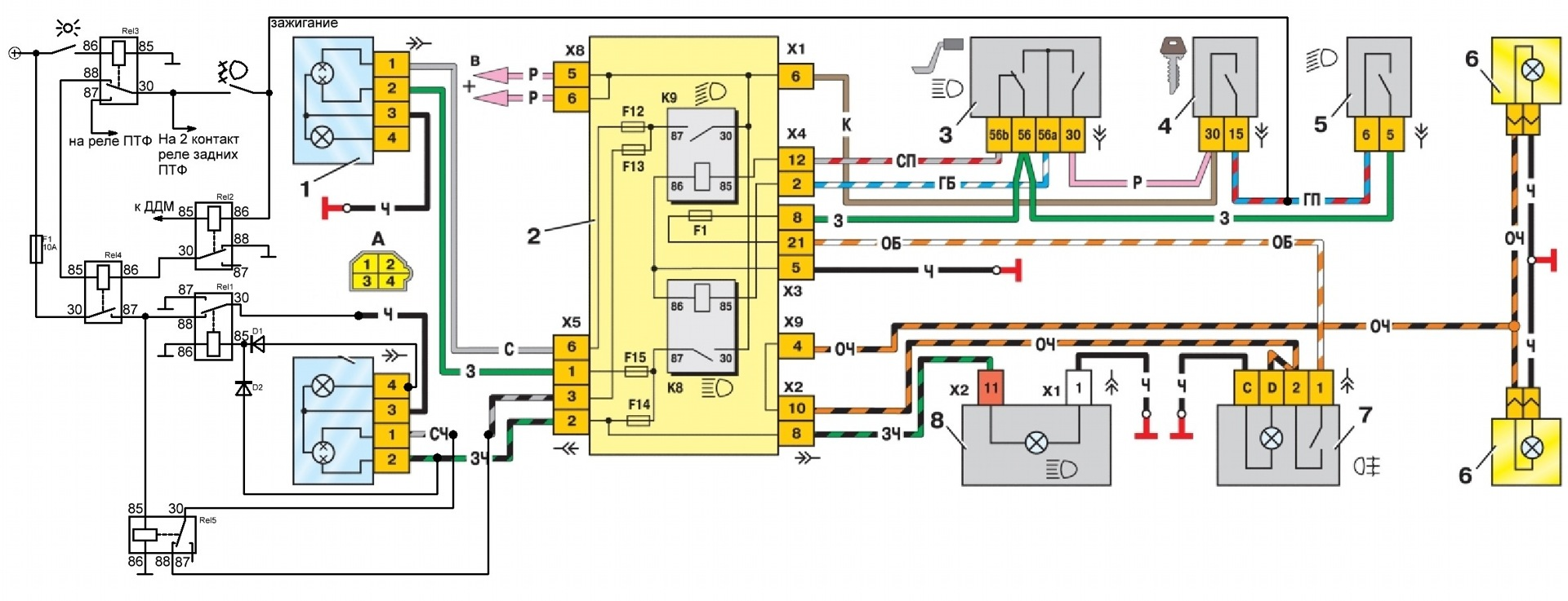 Электрическая схема ваз 2114 включения вентилятора