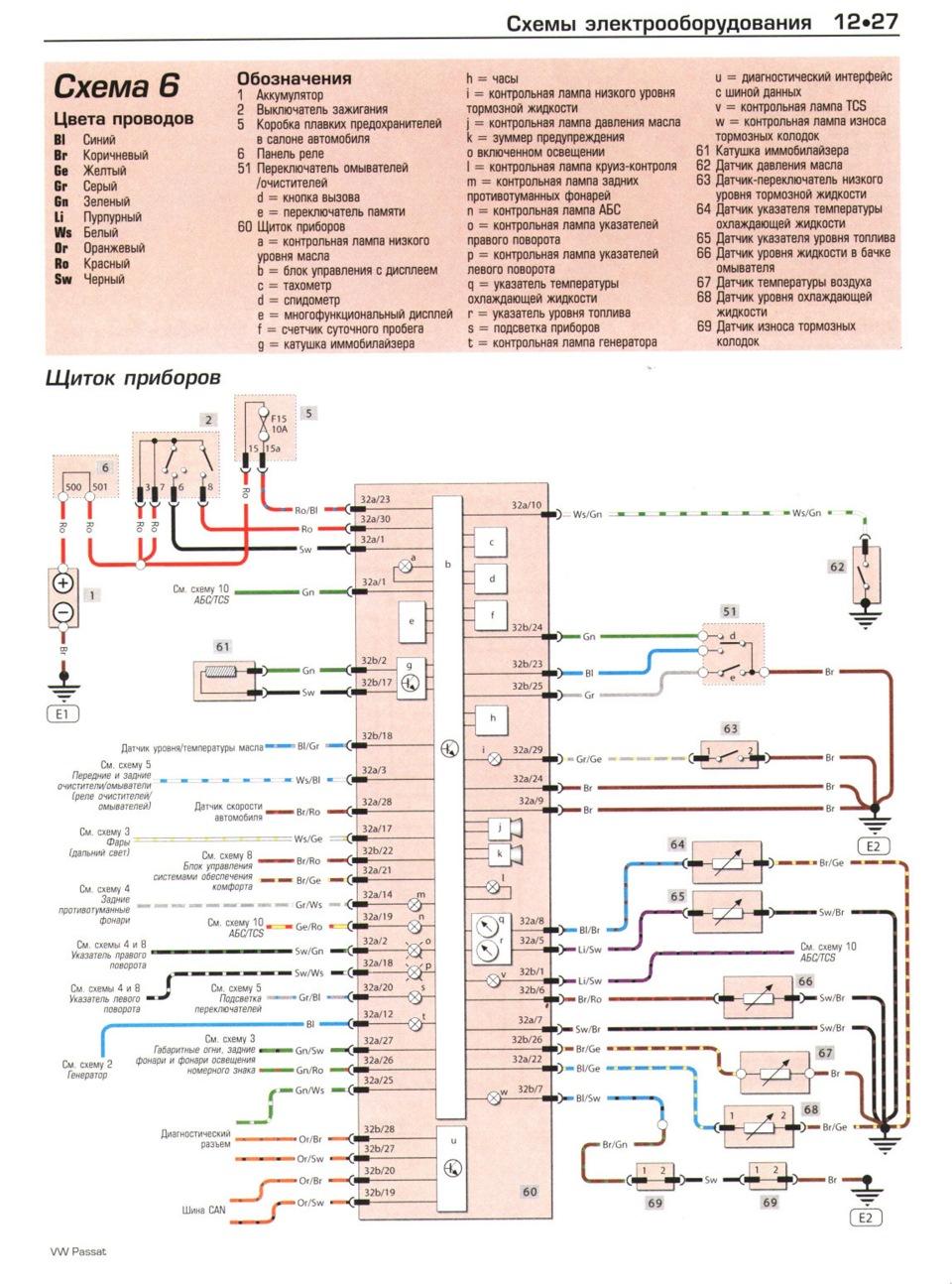 Схема предохранителей т4 1999