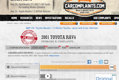 Carcomplaints rav4