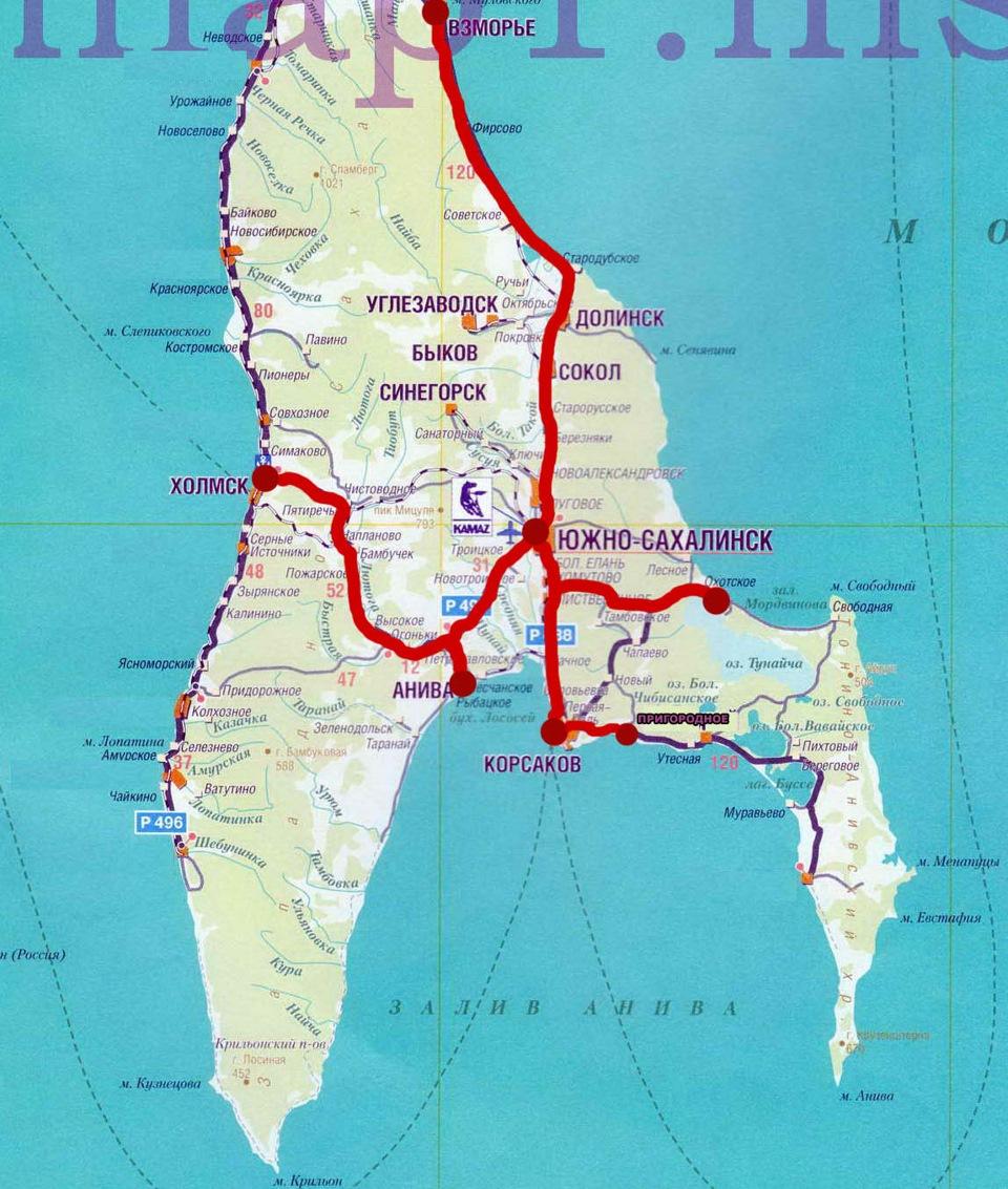 Где находится южный сахалинск на карте