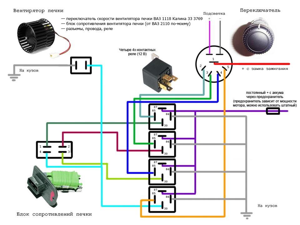 Электрическая схема подключения отопителя газель