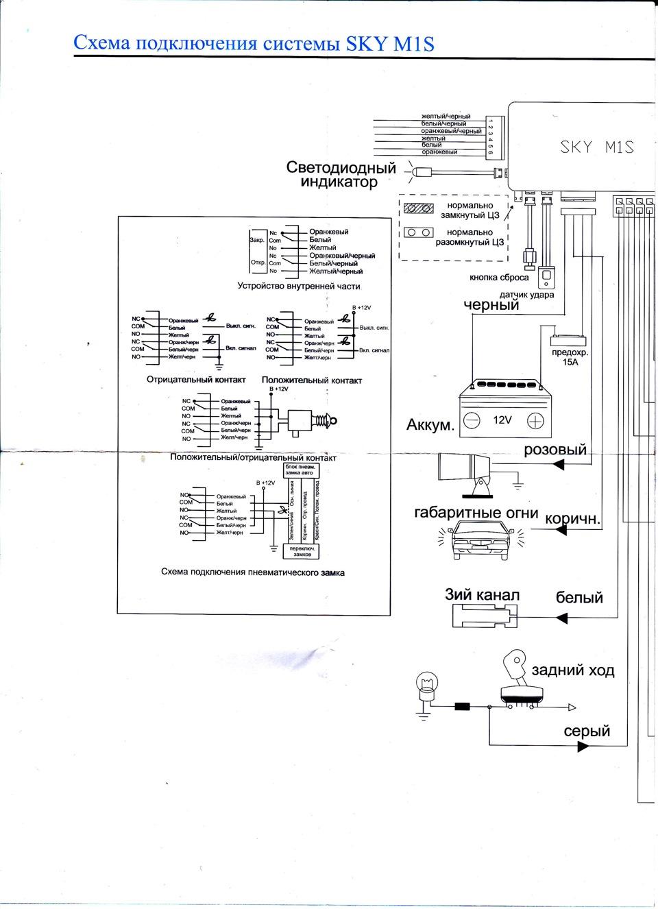 Схема подключения автосигнализация sun
