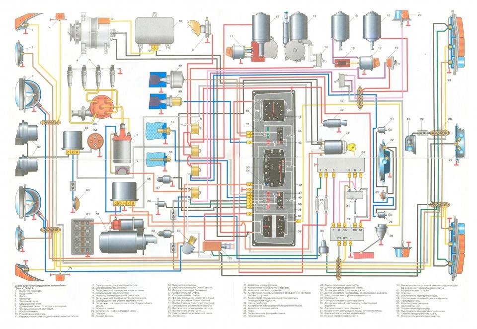 Цветная схема на Волгу газ-24