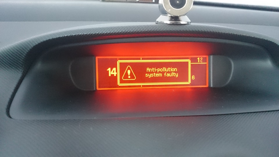 anti-pollution system faulty — logbook Peugeot 308 2009 on