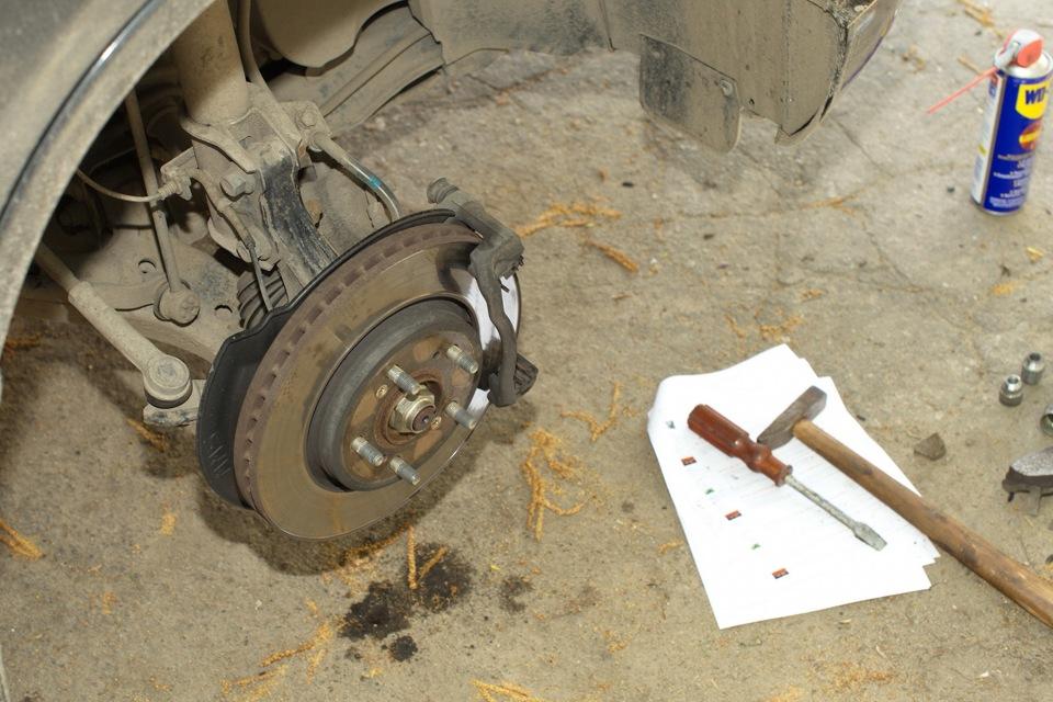Замена тормозных дисков хонда срв своими руками