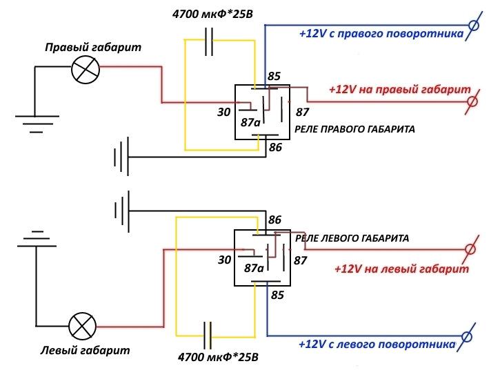 Схема подключения поворотников как габариты