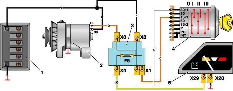 схема подсоединения генератора фольксваген джетта