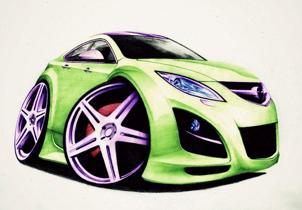 Картинки, прикольные картинки автомобилей нарисованные
