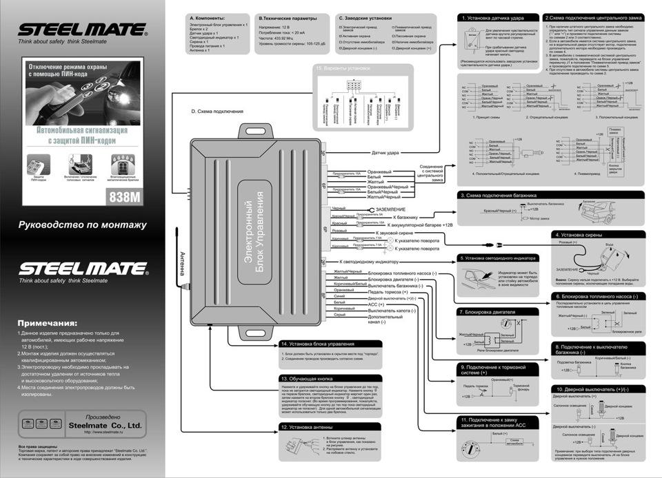 Steel mate 6638 сигнализация инструкция схема