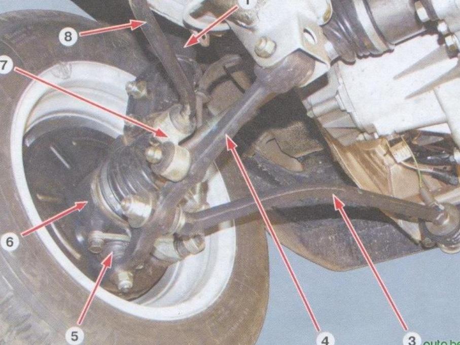 ...рычаг передней подвески 5 - шаровой шарнир рычага... передняя подвеска автомобиля ваз-2108, ваз-2109, ваз-21099...