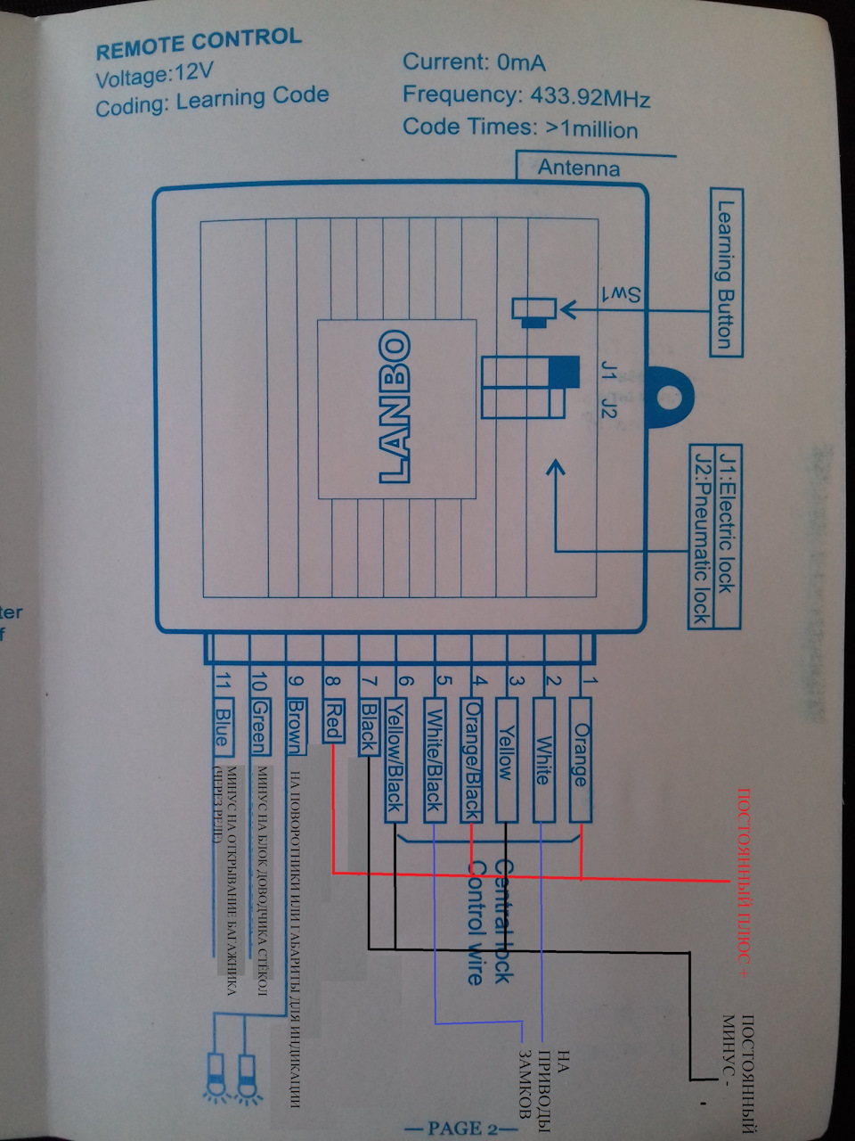 схема подключения актуатора багажника ваз 2110
